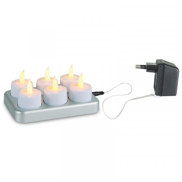 LED Chargeme telys 6-pk